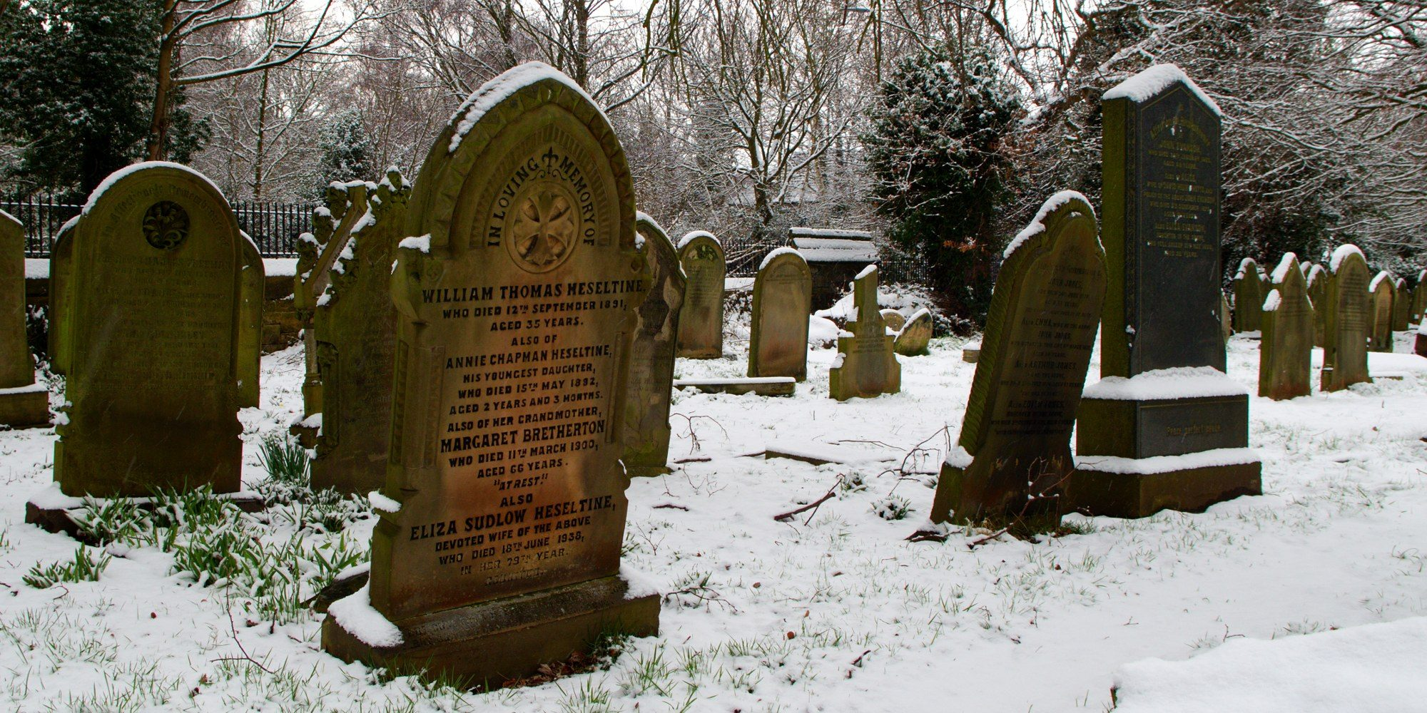 Snow covered Memorial Stones