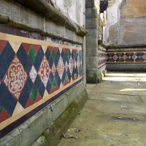 Tiled wall inside Flaybrick Chapel