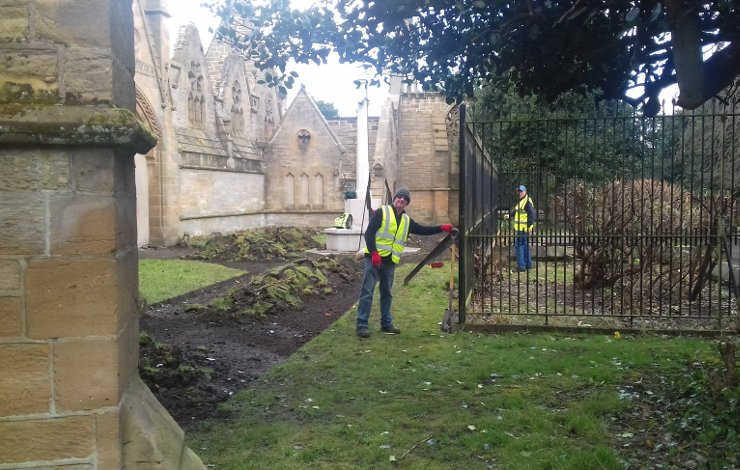 Volunteers Clearing paths around Chapel