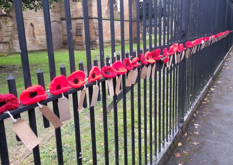 close up of knitted poppies on fence